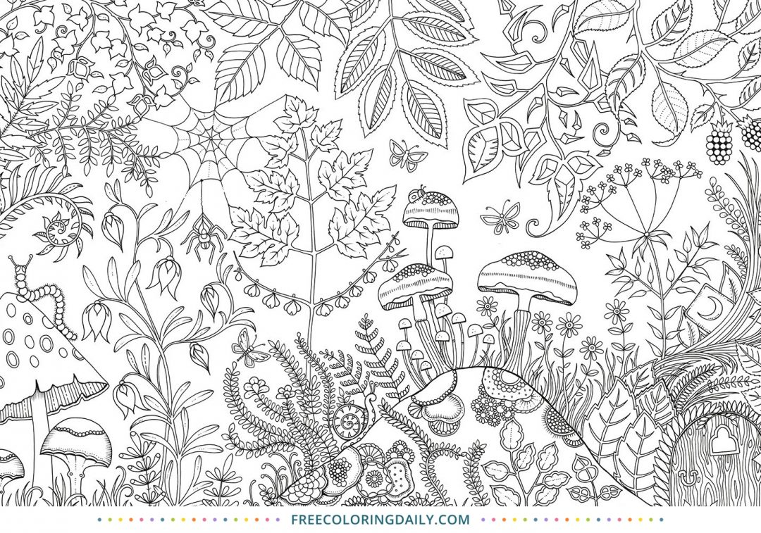 Free Cute Mushrooms Coloring Page