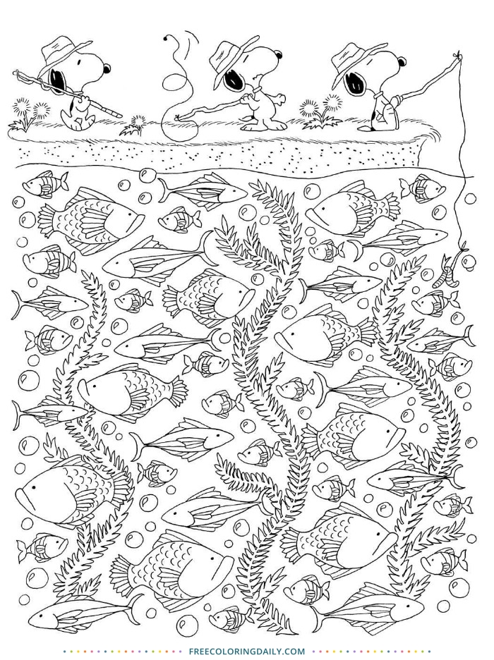 Free Fishing Snoopy Coloring Page