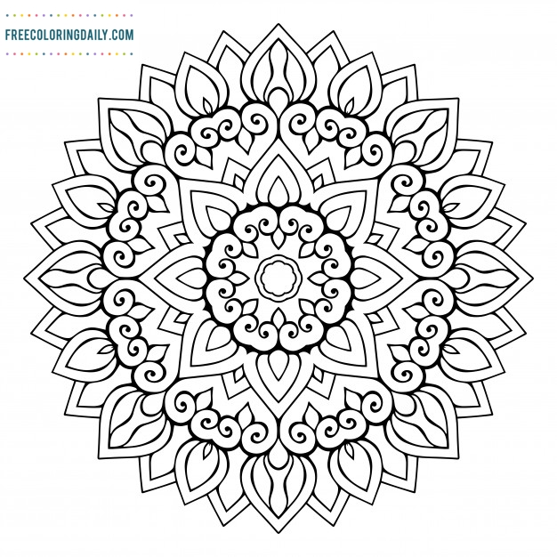 Free Sunflower Mandala Coloring