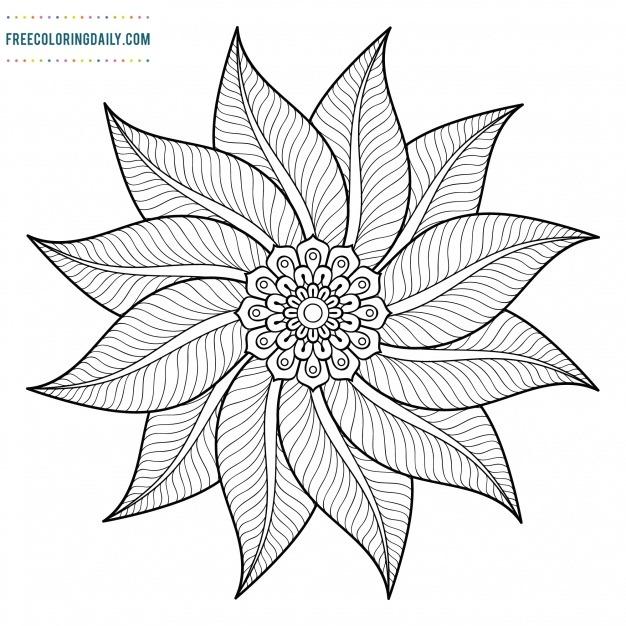Free Floral Spiral Coloring Design