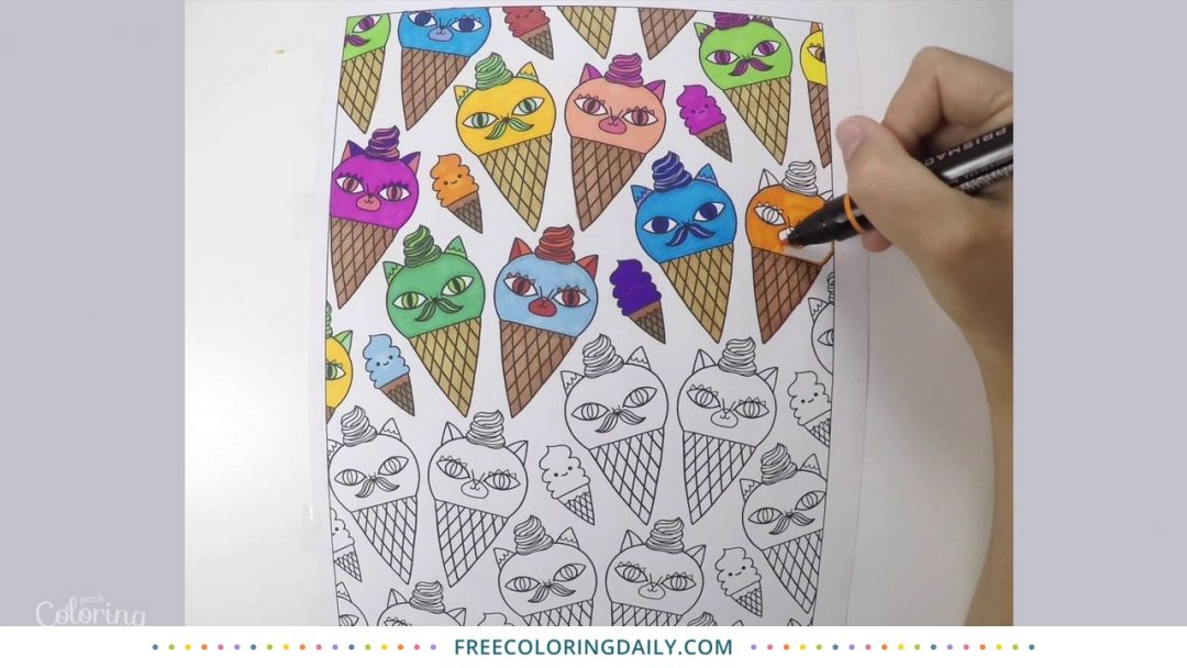 Cat Ice Cream Coloring Video