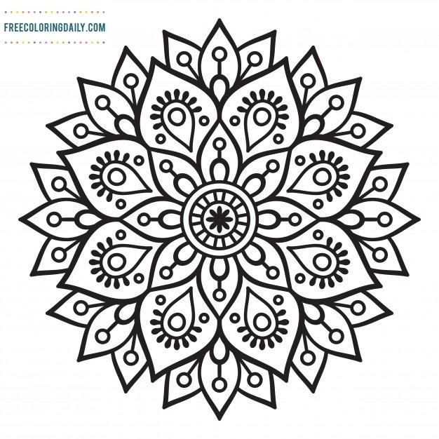 Free Pretty Mandala Coloring