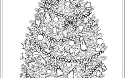 Free Christmas Tree Decorating Coloring Page
