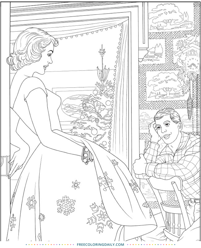 Free Christmas Americana Coloring Page