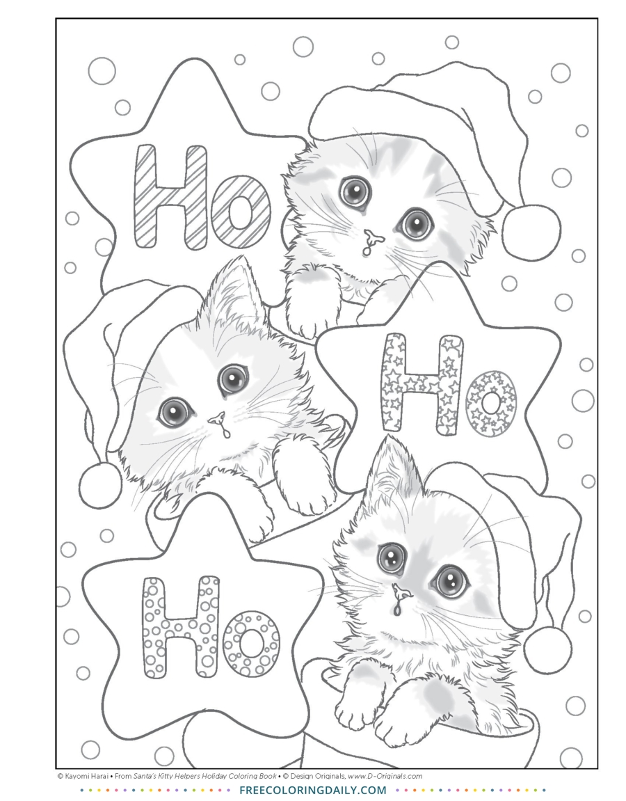 Free Kitty Christmas Coloring
