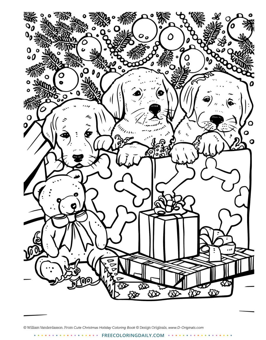 Puppy Christmas Free Coloring