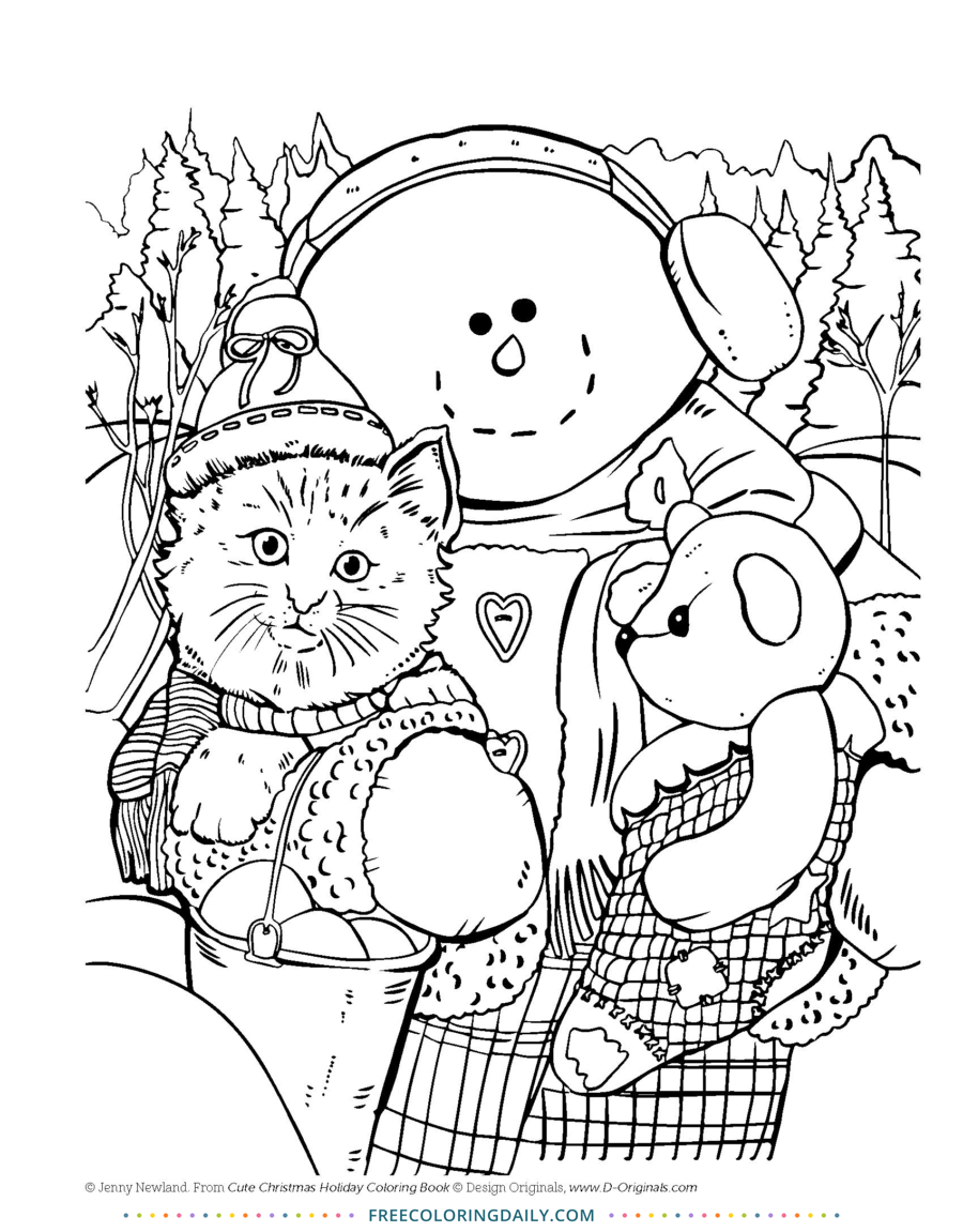 Free Christmas Fun Cat Coloring Page
