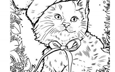 Cute Christmas Cat Coloring