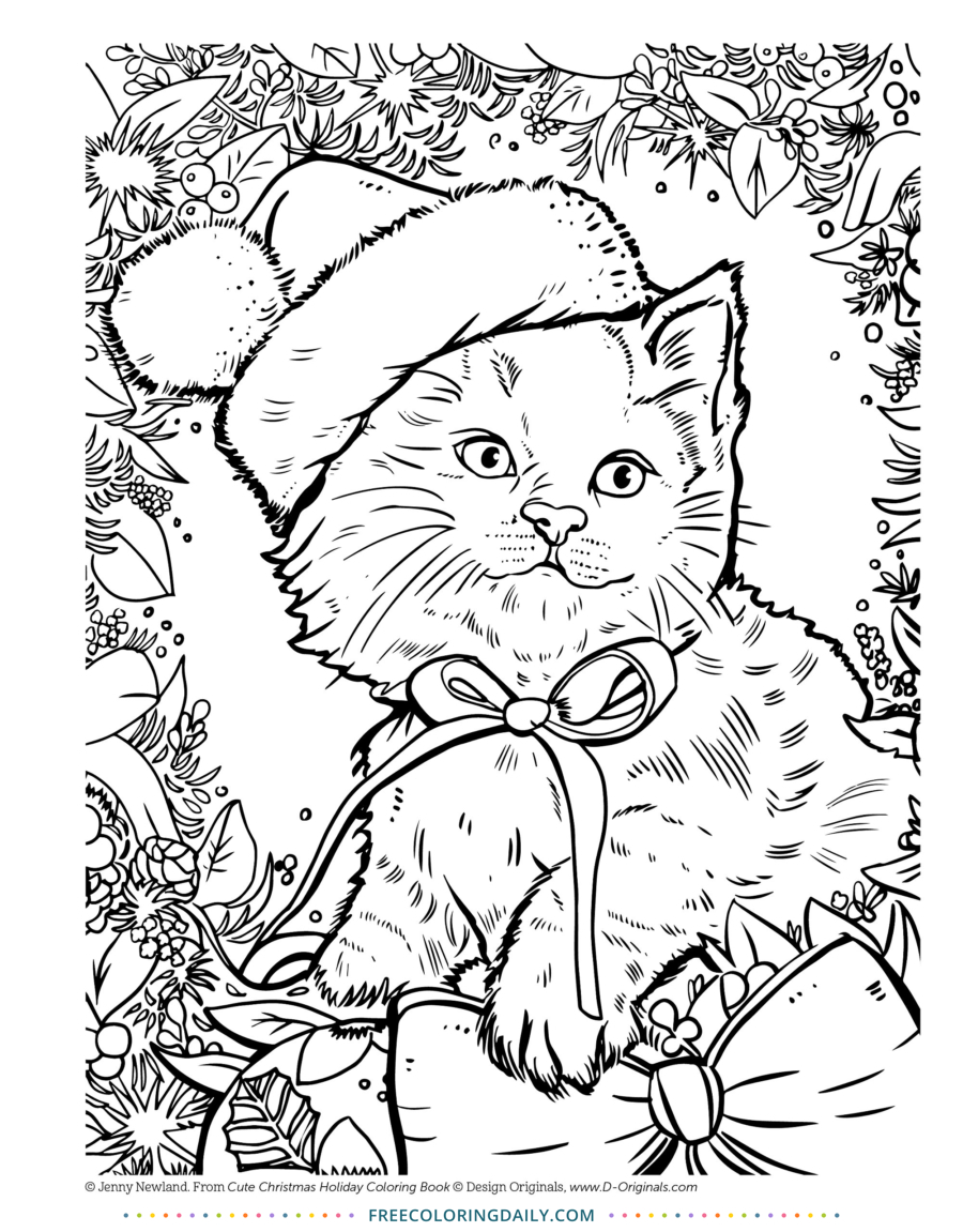 Cute Christmas Cat Coloring Free Coloring Daily