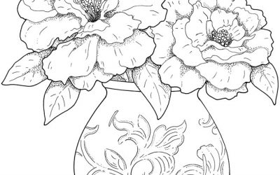 Free Vase of Flowers Coloring Sheet