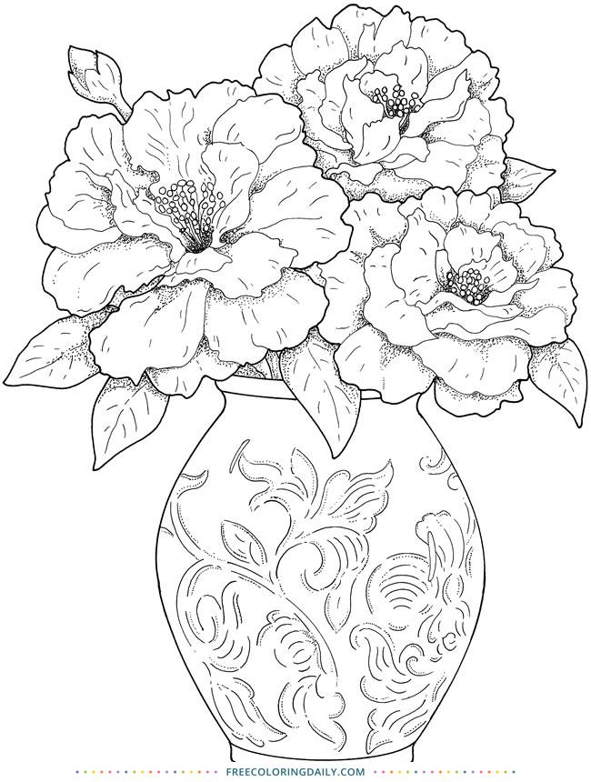 Free Vase of Flowers Coloring Sheet