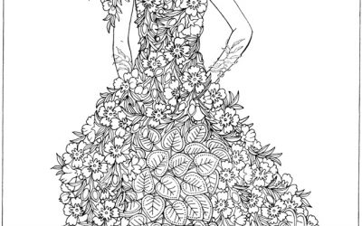 Free Fashion Floral Dress Coloring