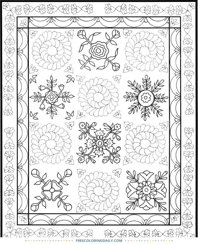Free Quilting Coloring Page