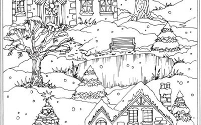 Free Coloring Page – Snowy Village
