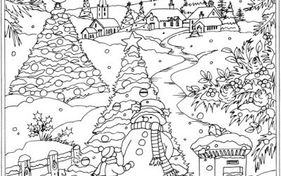 Free Snowy Winter Scene Coloring
