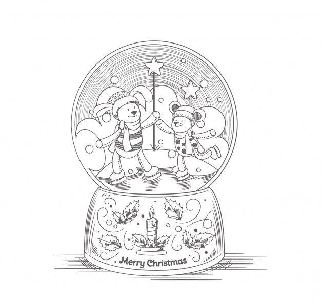 Christmas Snowglobe Free Coloring