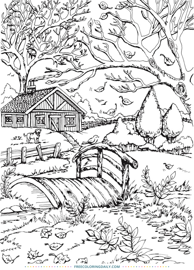 Free Fall Outdoors Coloring