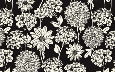 Free Black Background Floral Coloring