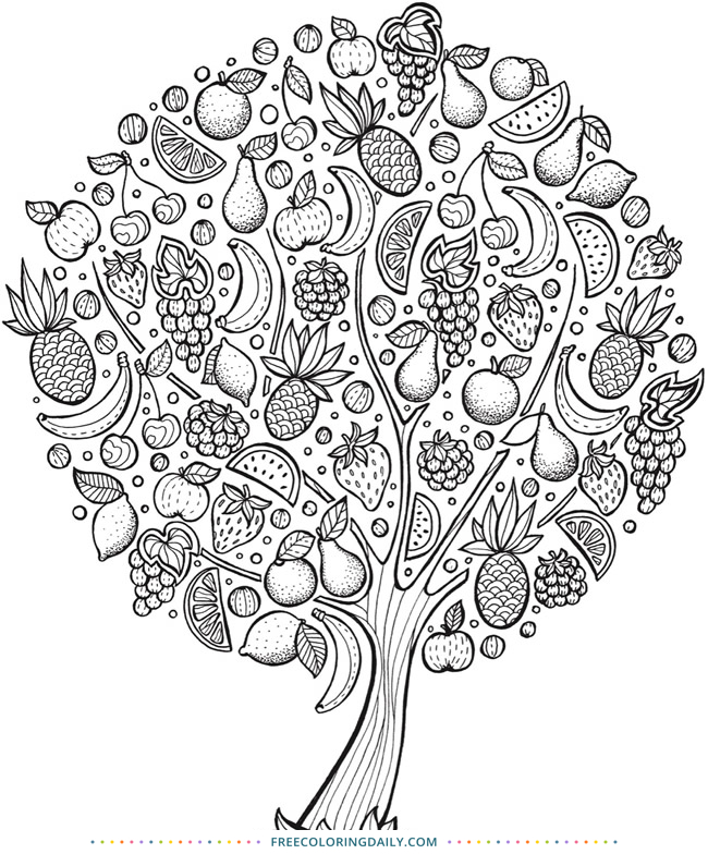 Free Fruit Tree Coloring