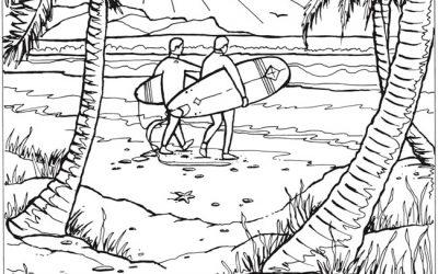 Free Beach Scene Coloring