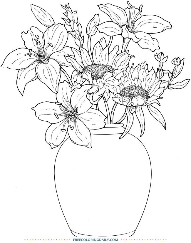Free Floral Bouquet Coloring
