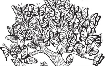 Free Butterfly Tree Coloring page