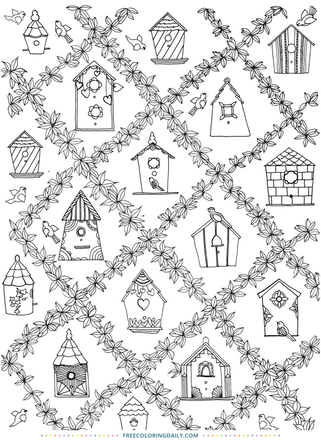 Free Birdhouse Coloring Page