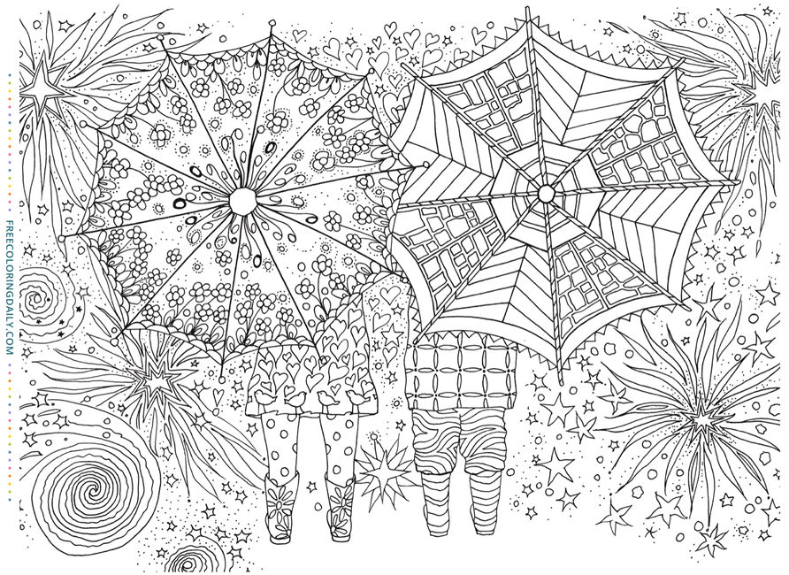Free Umbrella Coloring Page