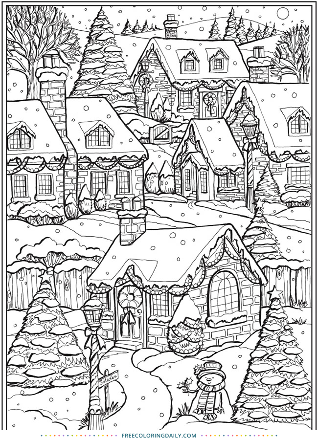Free Snowy Scene Coloring Page