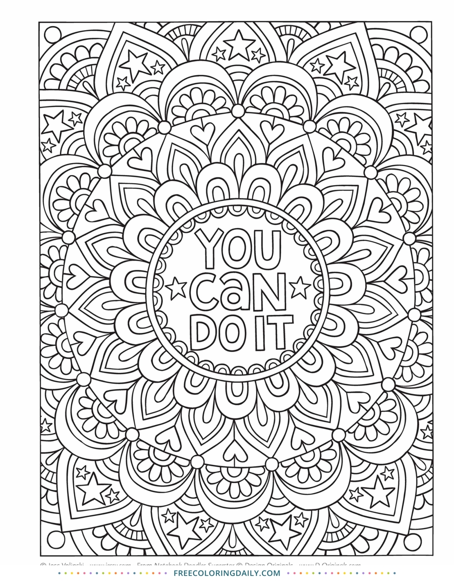 Free You Can Do It Coloring