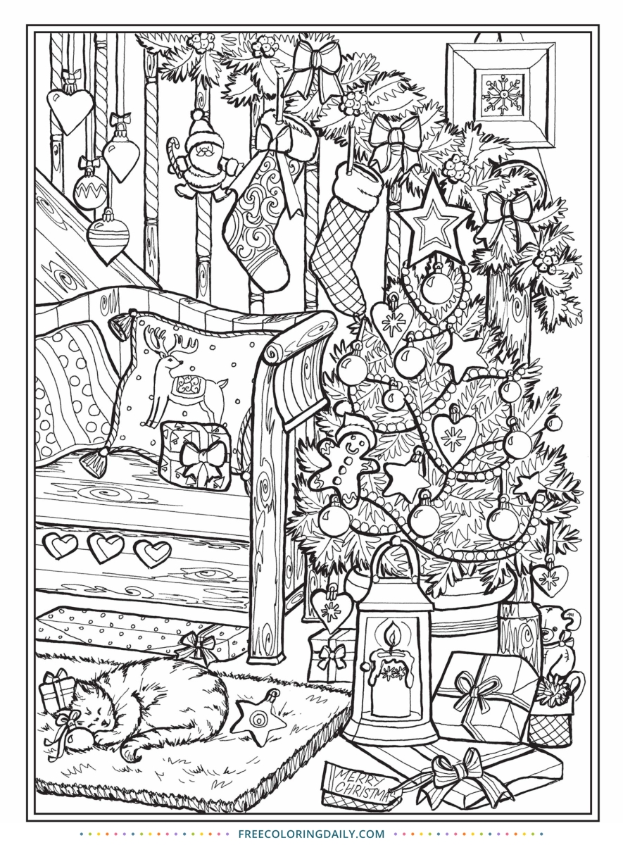 Free Christmas Scene Coloring