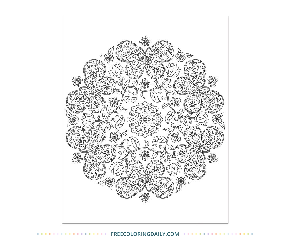 Free Butterfly Mandala Coloring