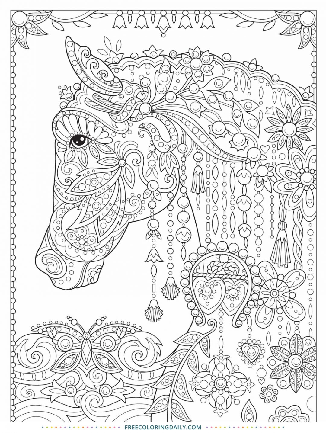Free Patterned Horse Coloring