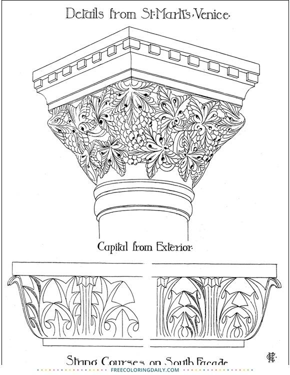 Free Fancy Column Coloring