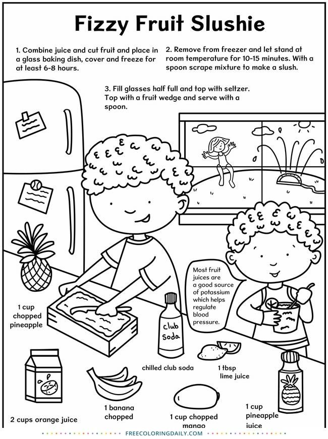 Free Kids Slushie Coloring Recipe