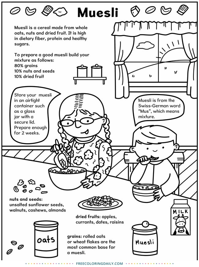 Muesli Recipe Coloring Page