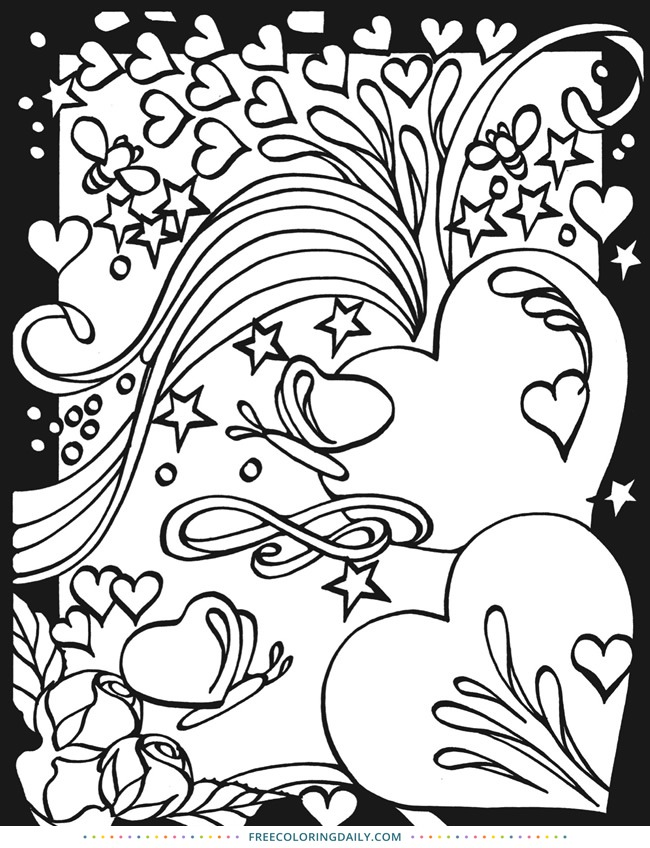 Free Hearts Stars Coloring Page Free Coloring Daily