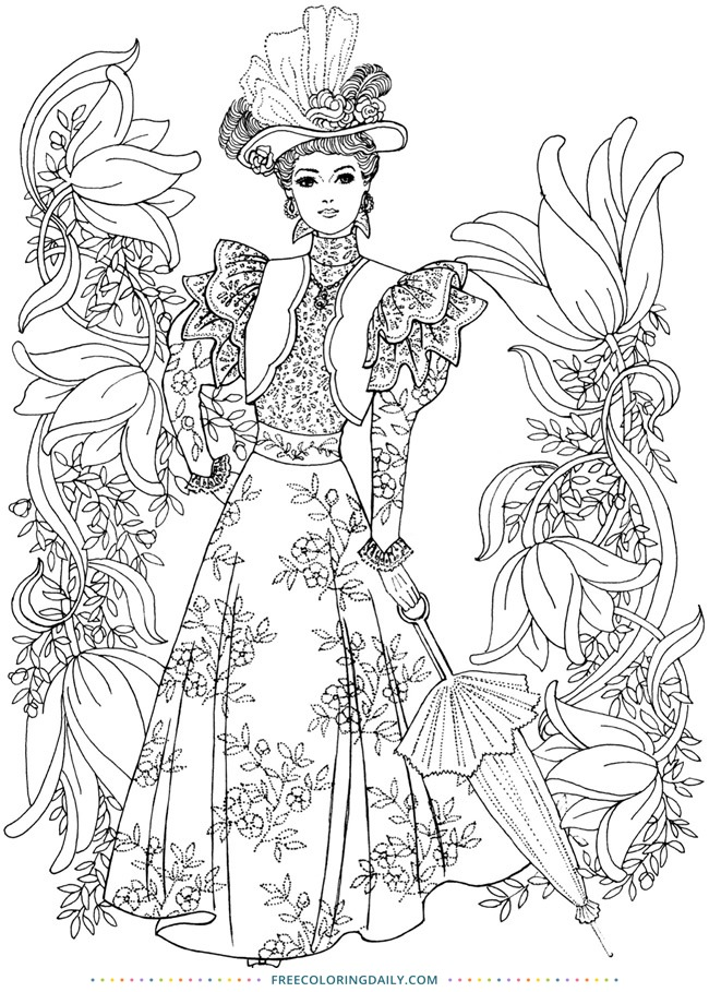 Free Vintage Woman Coloring Page