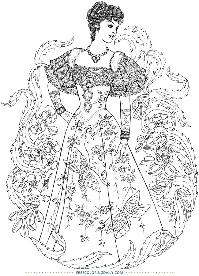 Women's Retro Fashion Free Coloring