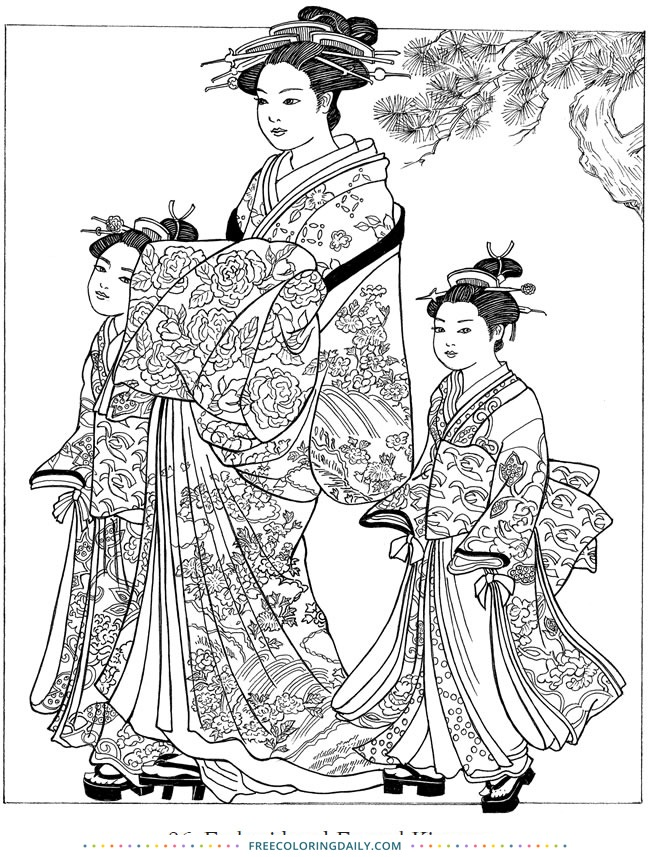 Free Asian Women Coloring Page