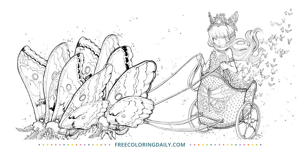 Free Butterfly Girl Coloring