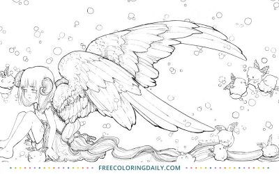 Free Angel Girl Coloring Page