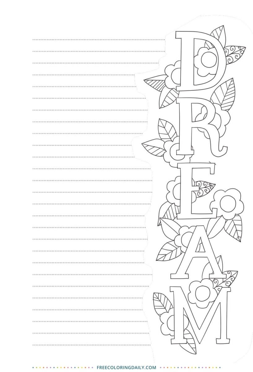 Free DREAM Coloring Journal Page
