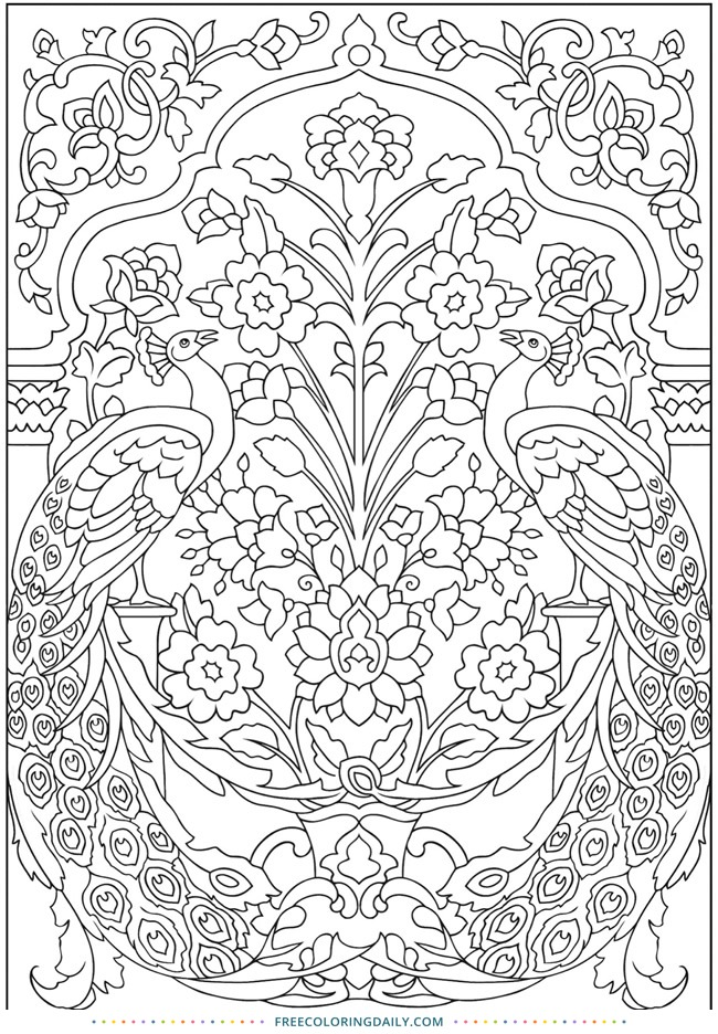 Free Pretty Floral Coloring Sheet