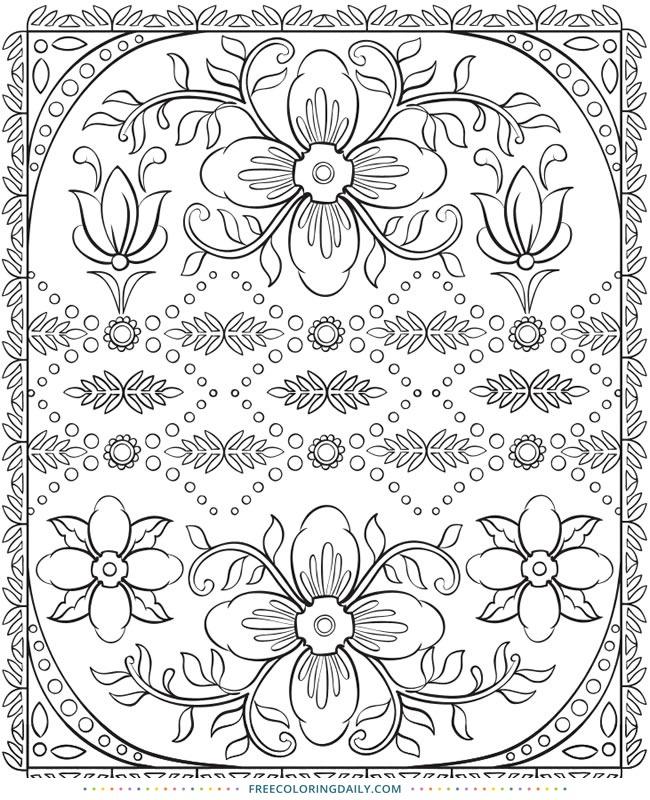 Free Floral Design Coloring
