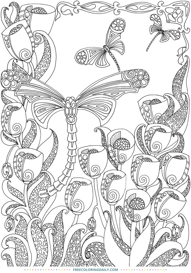 Free Dragonfly Coloring Page