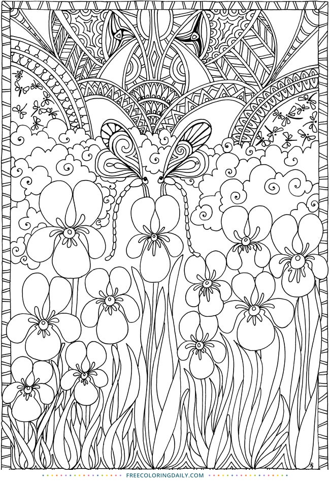 Free Floral Pattern Coloring