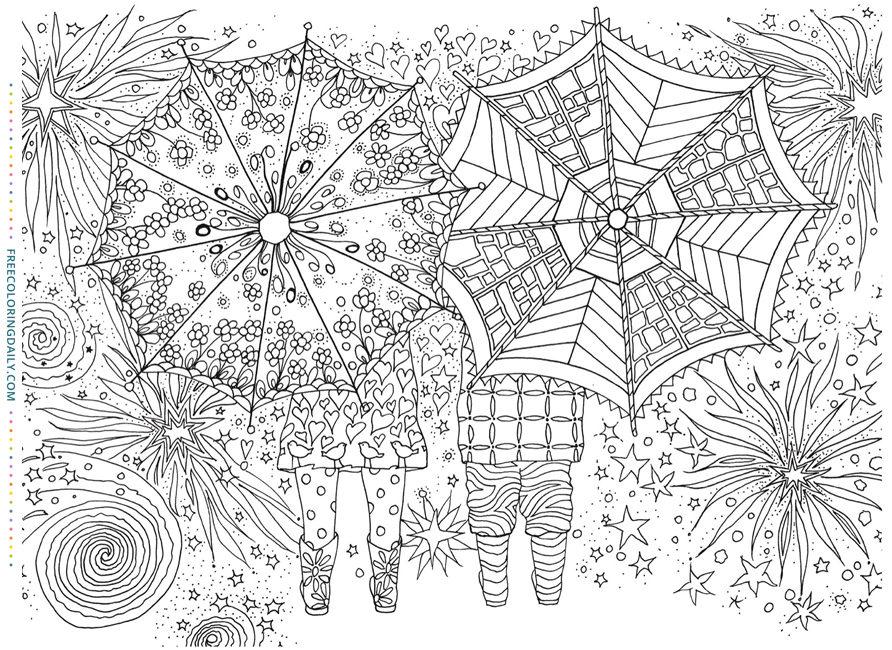 Free Umbrellas Coloring Sheet