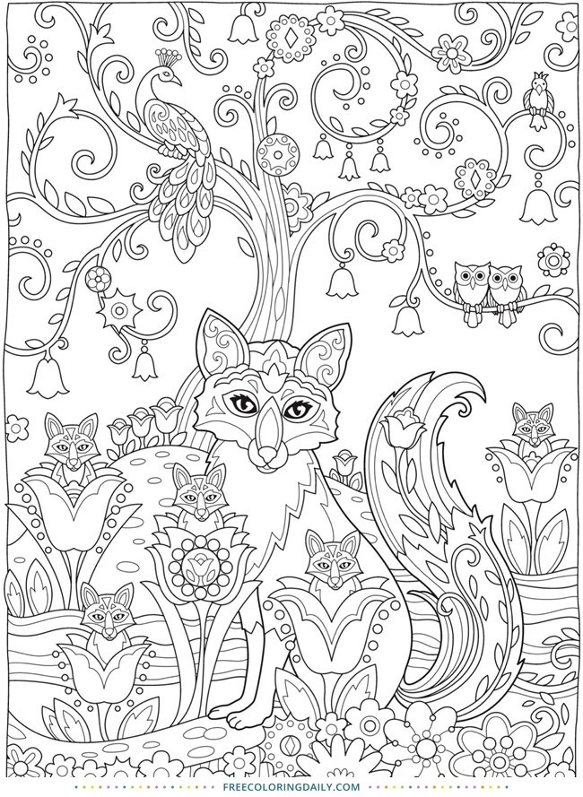 Free Whimsical Fox Coloring
