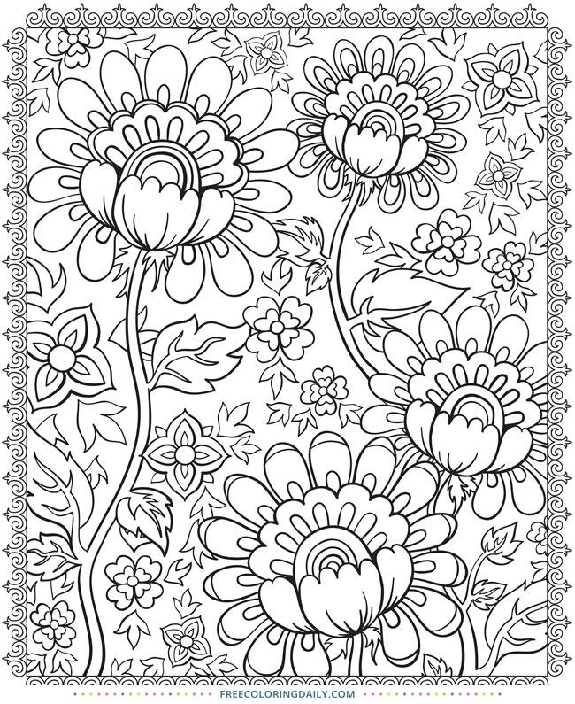 Free Folk Art Floral Coloring